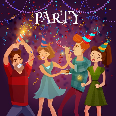bengal light: Birthday party evening celebration in disco cafe with bengal lights and confetti festive bright colorful background vector illustration