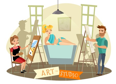 Art studio creative process with sexy blond model posing and visual artists at easel cartoon vector illustration