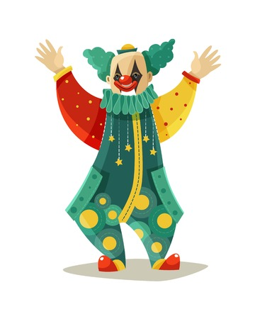 stage makeup: Traveling circus traditional clown figure in funny costume and makeup greeting public colorful icon vector illustration