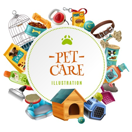 petshop: Pet care supply accessories and products decorative round frame composition with kennel doghouse and birdcage vector illustration