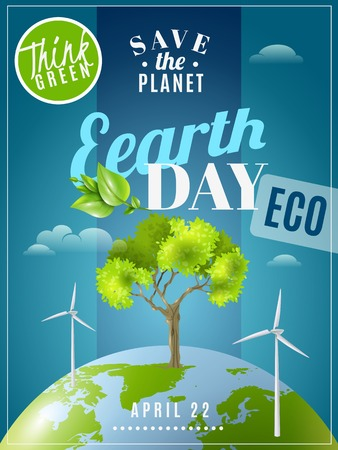environmental awareness: Save planet earth day announcement environmental awareness advertisement eco poster with green energy sources colorful vector illustration Illustration