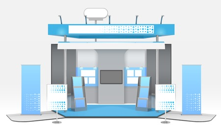 Exhibition advertising stand design with realistic tridimensional stall tv set and exhibit rack with promotional materials vector illustration Stock Illustratie