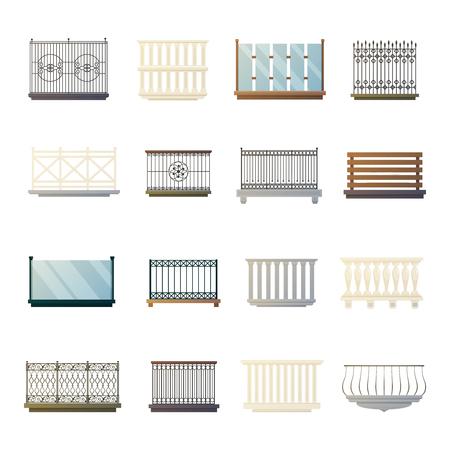 Vidrio de acero hierro y madera barandilla bacony ideas de decoración para el hogar de diseño de iconos planos ilustración colección de vectores