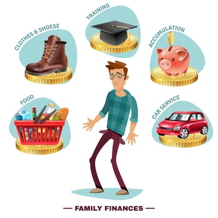 home expenses: Family budget planning flat icons pictorial composition with wage earner in center surrounded by outgoing expenses vector illustration