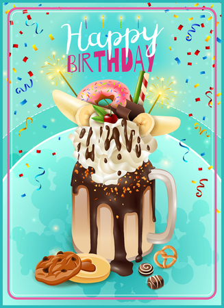 freaky: Extreme freakshake festive dessert birthday party invitation card poster with rich chocolade cake milkshake topping vector illustration