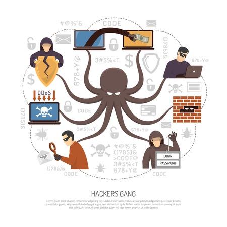 Internet grupos de hackers y bandas del cartel infografía plana y redonda programadores profesionales criminales neta con la ilustración de símbolo del vector del pulpo Foto de archivo - 70372665