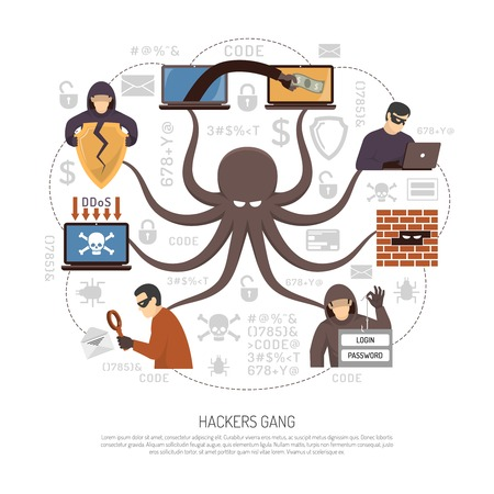 Internet hackers groups gangs and criminal professional programmers net flat round infographic poster with octopus symbol vector illustration