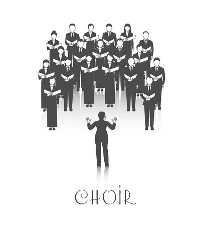 Klasyczny występ chóru z muzyką arkusza prowadzony przez dyrygenta ubrana na czarno na białym tle ilustracji wektorowych