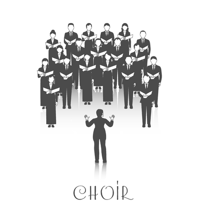 Classic choir performance with sheet music led by conductor dressed in black on white background vector illustration