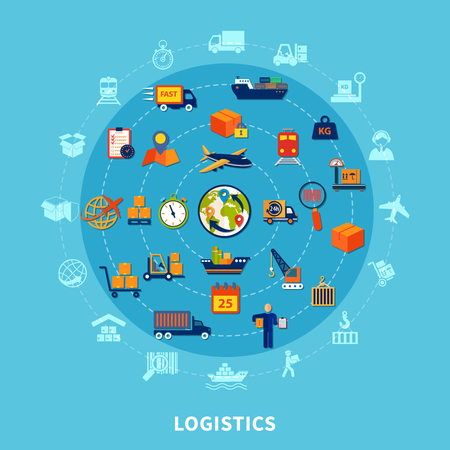 Logistic flat round composition with isolated icon set combined in big round vector illustration Stock Illustratie