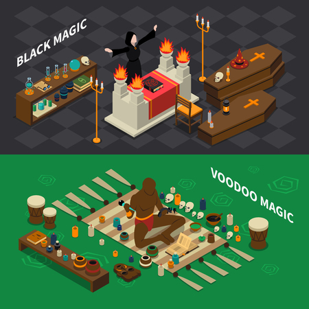 black magic: Isometric horizontal banners with black sorcery and voodoo magic with skulls book and drums isolated vector illustration