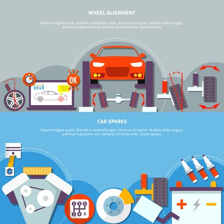 spares: Two horizontal banner on auto service theme with wheel alignment and car spares design compositions flat vector illustration