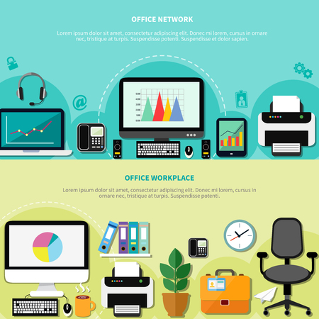 computers network: Office workplace for network horizontal banners with computers peripherals and elements of interior flat vector illustration