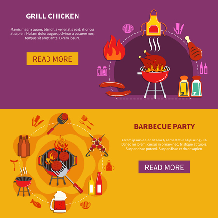 chiken: Grill chiken and barbecue party set with variety meal and beverage vector illustration