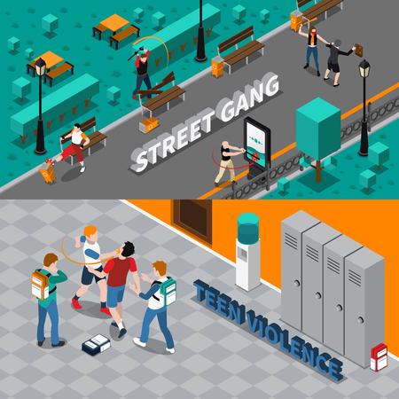 violencia: Gamberrismo banners horizontales isométricas con las personas que destruyen la propiedad y la violencia adolescente aislado banda callejera de atacar ilustración vectorial