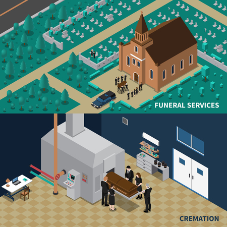 cremation: Funeral services isometric horizontal banners with people carrying coffin from church and cremation isolated vector illustration Illustration