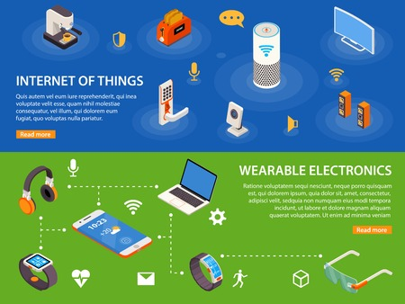 things: Wearable electronic devices and internet of things  iot 2 isometric infographic banners webpage design isolated vector illustration Illustration