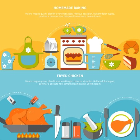 homemade cake: Homemade culinary flat horizontal banners with ingredients elements for baking and fried chicken cooking vector illustration Illustration
