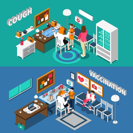 Isometric horizontal banners with child diseases including cough and vaccination pediatricians kids interior elements isolated vector illustration