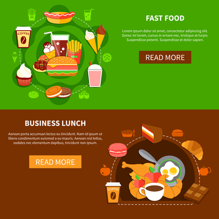 fast meal: Fast food online menu options 2 flat banners webpage design with business lunch and family meal vector illustration Illustration