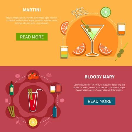 bebidas alcohÓlicas: Cocktail banners horizontales con las recetas de bebidas alcohólicas en ilustración vectorial de estilo plano Vectores