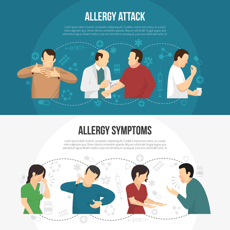 allergic reactions: Two horizontal colored allergy banner set with allergy attack and allergy symptoms descriptions vector illustration