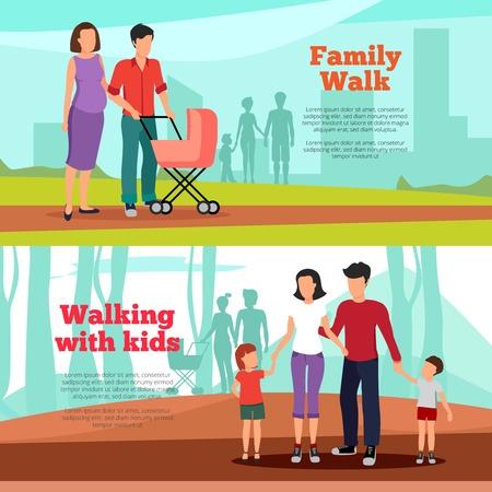 family: Family horizontal banners set with family walk symbols flat isolated vector illustration Illustration