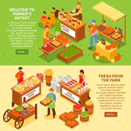 Pancartas horizontales de mercado conjunto con texto de composiciones isométricas de frescos productos de granja y leer más ilustración de vector de botón