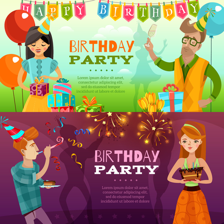 bengal light: Birthday party celebration 2 festive horizontal banners set with presents sparklers ballons and cake isolated vector illustration Illustration