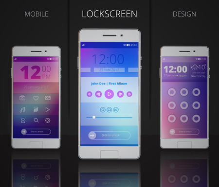 music player: Smartphones lock screen designs with user interface including icons menu music player and password 3d vector illustration