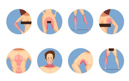 Le zone di depilazione di depilazione per le icone rotonde del fondo blu di stile del fumetto delle donne e degli uomini messe hanno isolato l'illustrazione di vettore
