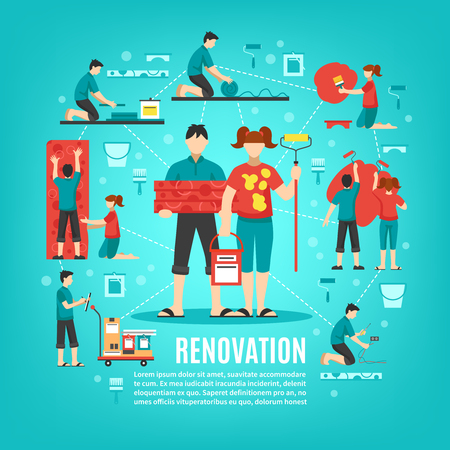 cleaning crew: Renovation crew square conceptual background with boy and girl faceless characters cleaning apartment with editable text vector illustration Illustration