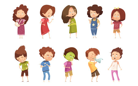 Colored sickness child retro cartoon icon set with girls and boys different degree of disease vector illustration