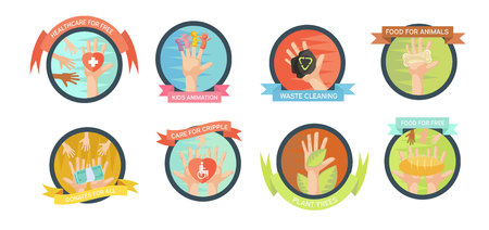 inscribed: Isolated volunteering emblems set with helping hand images and signs inscribed in round frames with text ribbons vector illustration Illustration