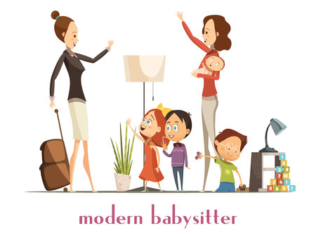 nanny: Modern stylish babysitter nanny holding baby playing with kids and waving farewell to busy mother cartoon vector illustration