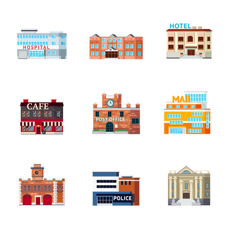 country store: Orthogonal icons set with isolated images of different purpose city buildings facade looks and architectural form vector illustration