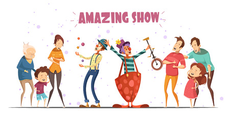 Circle clowns amazing public show performance for hilarious laughing people with kids and grandparents retro cartoon vector illustration