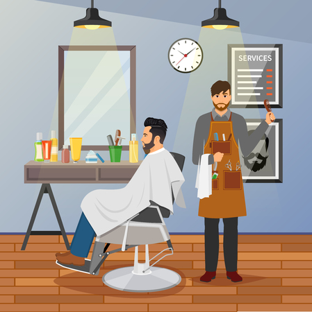 Barber shop flat design with hairdresser with working tools and client in chair near mirror vector illustration