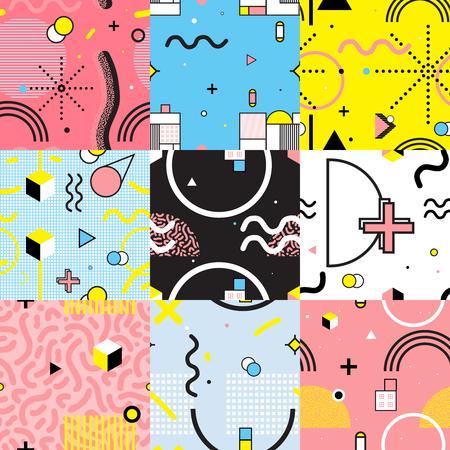 Set of colorful seamless patterns in memphis style with wavy lines and geometric figures isolated vector illustration Çizim