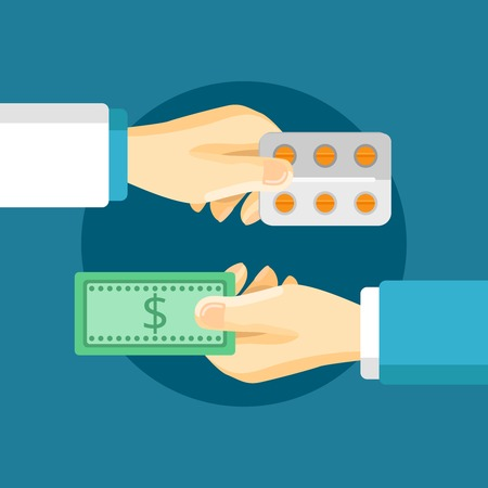 buyers: Medications purchase composition with two hands buyer and seller in flat style vector illustration
