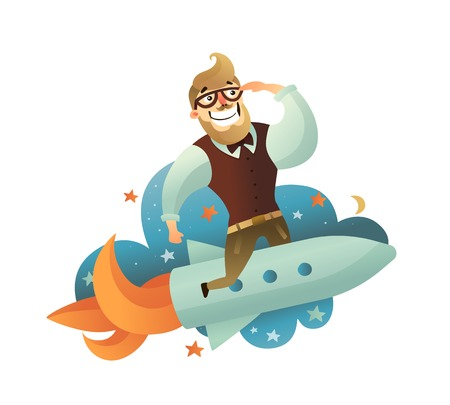 Colored startup man composition with hipster flying on a rocket to nowhere vector illustration