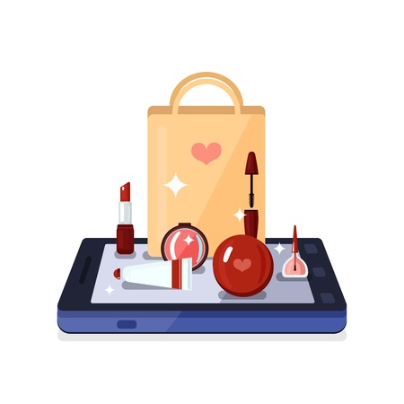beauty shop: Colored beauty shop online composition with set of beauty tools and makeup instruments on smartphone vector illustration Illustration