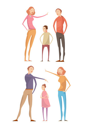 unhappy family: Set of two isolated compositions with adult parents characters abusing their unhappy children having family quarrel vector illustration