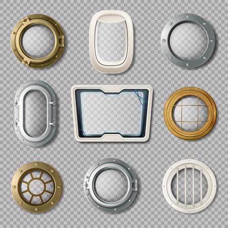 Realistic set of metal and plastic portholes of various shape on transparent background isolated vector illustration Vektorové ilustrace