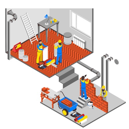 Interior repairs isometric composition with workers equipment and paint vector illustration
