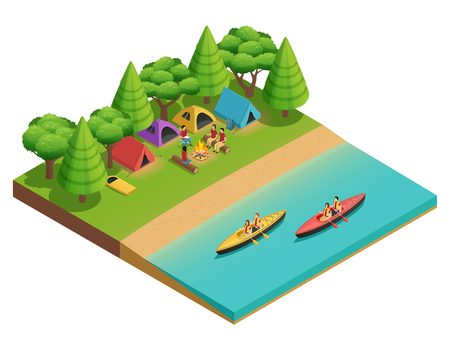 Camping hiking isometric composition with tent on the lake and tourists on boats vector illustration