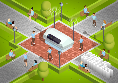 wireless connection: Public wireless technology access isometric poster with symbolic wifi internet connection router outdoor and smartphone users vector illustration
