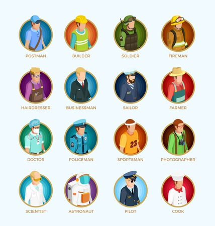People avatar isometric set of different professions occupations and jobs isolated vector illustration