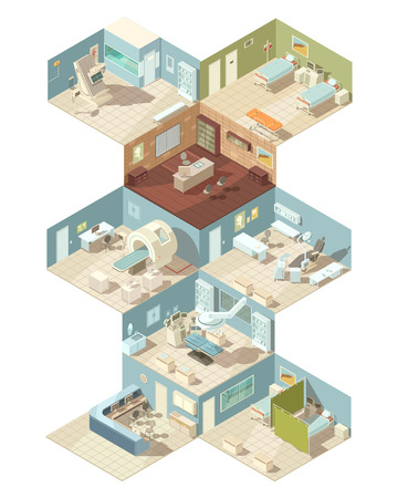 md: Hospital indoors isometric design concept set of reception ward operating room cabinet of functional diagnostics interiors vector illustration
