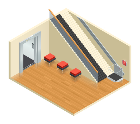 assistive: Disabled access elevator lift escalator isometric interior composition with staircase and wheelchair moving platform assistive technology vector illustration Illustration